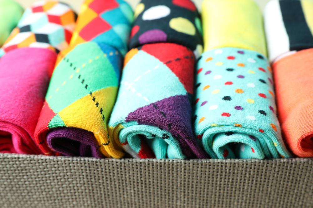 colourful socks in a box